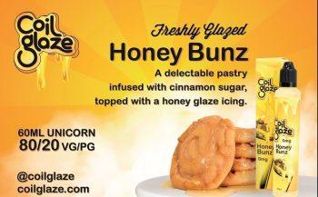Coil Glaze Honey Bunz, Şekerli Tarçın, Bal ve üzerine Krem Şanti ile hazırlanmış nefis pastanın muazzam lezzet ve koku iştah açıcı e-likit sıvısı % 70 VG % 30 PG oranına sahip yumuşak içimli Ballı pasta aromalı Coil Glaze Honey Bunz E Likit Sıvısı Las Vegas'da üretilmiştir.
